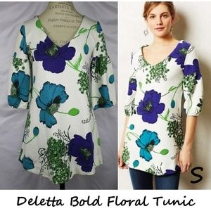 Anthropologie Deletta Bold Floral Tunic Size S